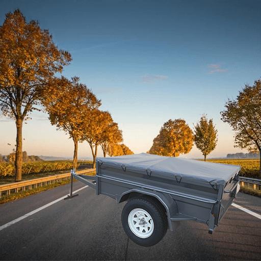 7Single axle heavy duty high side box trailer with flat PVC cover. (AUBOX06)