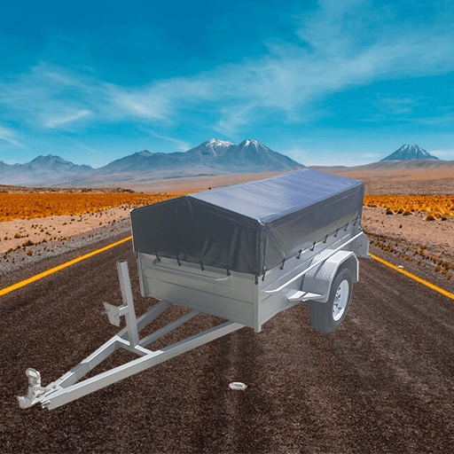 8Single axle heavy duty high side box trailer with Medium PVC cover. (AUBOX07)