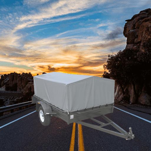 9Single axle heavy duty std height box trailer with high PVC Cover. (AUBOX08)